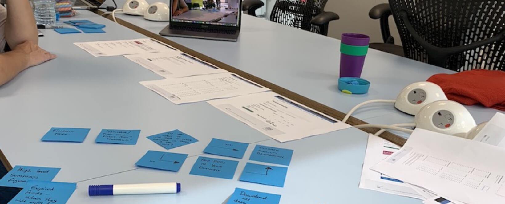 Photo showing a desk and post-it notes in a UX design workshop.